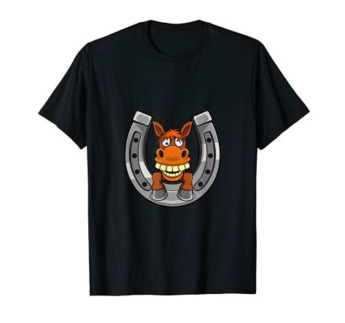 Motivo de caballo con herraduras: montar te hace feliz Camiseta