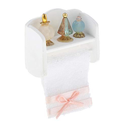 sharprepublic Casa de muñecas Mini toallero Miniatura con Perfume Modelo 1:12 casa de muñecas acerrories baño pequeña Decoración