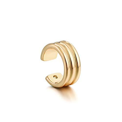 MEVECCO - Pendientes de aro chapados en oro de 14 quilates con diseño de rayas, sin perforación, cartílago, 1 unidad Dorado
