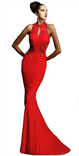 Damen Kleider Lange - Elegant Brautkleider für Braut oder Zeremonie - Abendkleider Moderne Disco Fashion Abendball oder Party - M - Rosso Impero