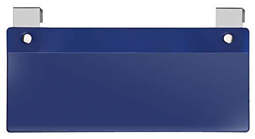 Veloflex 3871000 etikettenhouder met metalen haken, voor kleine ladingdragers, hard PVC-folie, blauw, 10 stuks