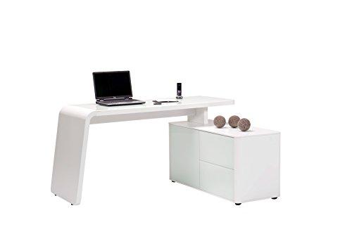 Jahnke CSL 465 E WGL/MATT-WS T.1-2 Eck-Schreibtisch, E1-Holzwerkstoffplatten, beschichtet und lackiert, ESG-Sicherheitsglas, weißglas, 154 x 60 x 76 cm