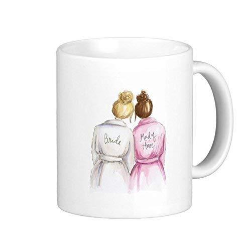 VTYOSQ TimetoShine Maid of Honor? Blonde Bun Bride Auburn Maid Classic White Coffee Mug