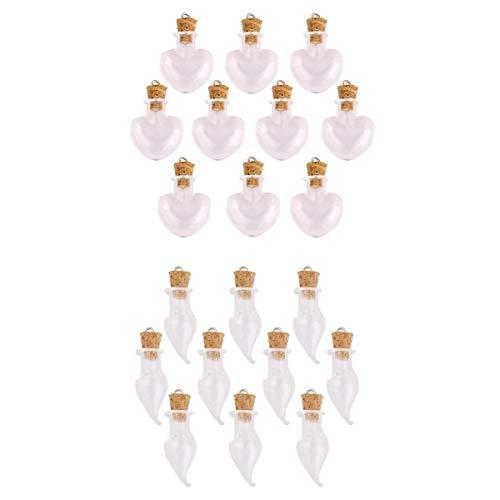 Bonarty - 20 Mini Botellas de Cristal con Forma de corazón y Pimienta para Colgar Deseos, para Hacer Collares