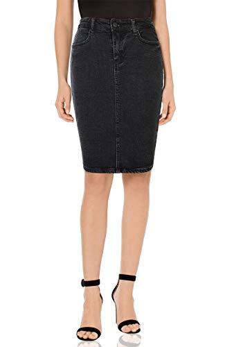 MONYRAY Jupe Femme en Jeans Taille Haute Courte Jupe Crayon Extensible Denim Délavé avec Fendue sur Le derrière Noir FR38/40 (Taille Fabricant 26)