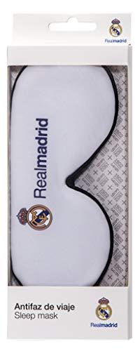 Real Madrid Antifaz para Dormir - Producto Oficial del Equipo, 100% Anti-Luz, con Goma Flexible Ajustable y Tacto Suave