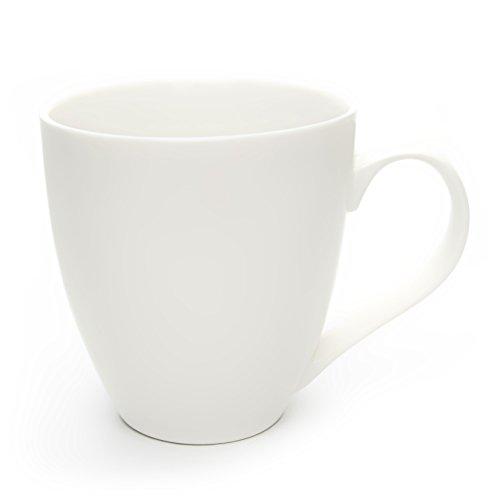 Hausmann & Söhne XXL Tasse weiß groß Seiden-Matt aus Porzellan | Jumbotasse 500 ml (550 ml randvoll) | Kaffeetasse/Teetasse groß | Kaffeebecher | weiße Tasse 500 ml | Geschenkidee