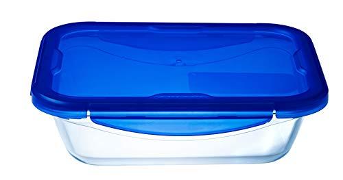 Pyrex - Cook & go - Boîte Rectangulaire en Verre avec Couvercle Hermétique et Étanche Ø 30 cm - - Cuisinez au four, Conservez et Emportez