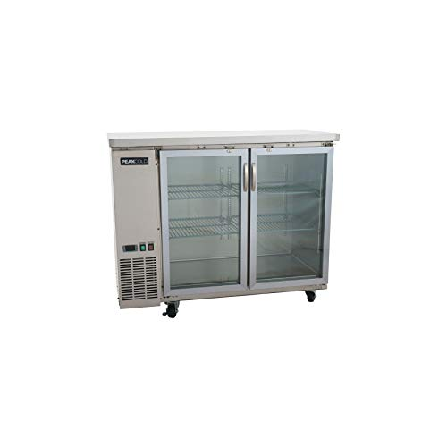 """PEAK COLD 2 Glass Door Commercial Back Bar Cooler; Stainless Steel Under Counter Refrigerator; 48"""" W"""