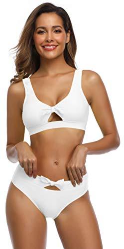 SHEKINI Damen Zweiteiliger Bikini Set Sportliche Bikinis Cut Out Hollow Schleife Bademode Rückenfrei Strandmode High Waist Bauchweg Hose Gepolstert Einlagen (M, Weiß)