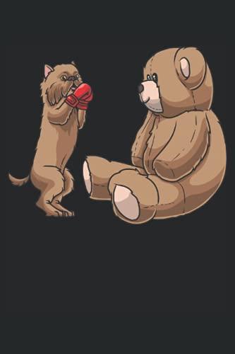 Griffon Bruxellois Hund mit Kampfhandschuhen und Stofftier: Notizbuch LINIERT | Eine lustige Kladde für Hundeliebhaber und Boxsport