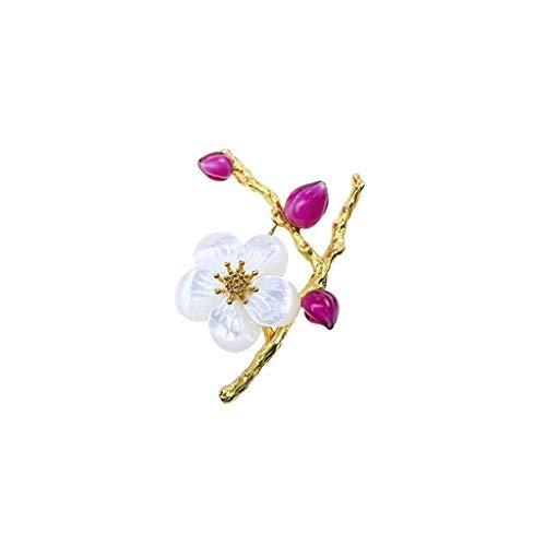 NYKK Pin de joyería de Regalos para Mujeres Hecho a Mano de Cristal Pernos Flor del melocotón Natural Ramillete de la Madre-de-Perla de la Personalidad del Lugar Broche Broches y alfileres