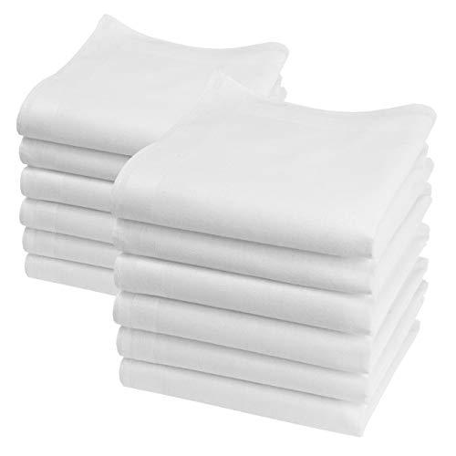 Merrysquare - Mini Mouchoirs Unis - Modèle Lilliput Blanc - Petite Taille 23cm x 23cm - 12 pièces - 100% coton