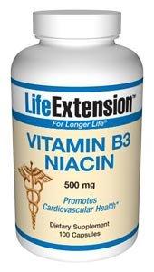 Life Extension, Vitamin B3 Niacin, 500 mg, 100 Kapseln, sojafrei, glutenfrei