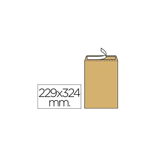 Liderpapel Sobre Bolsa N.7 Kraft Din C4 229X324 Mm Tira De Silicona Caja De 250 Unidades