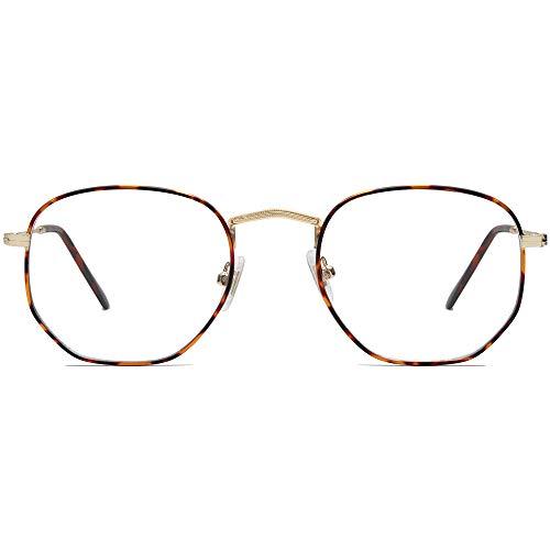SOJOS Blaulichtfilter Brille Computerbrille Blaulicht Blokierende Brille Polygon Linse SJ5036 Leopard