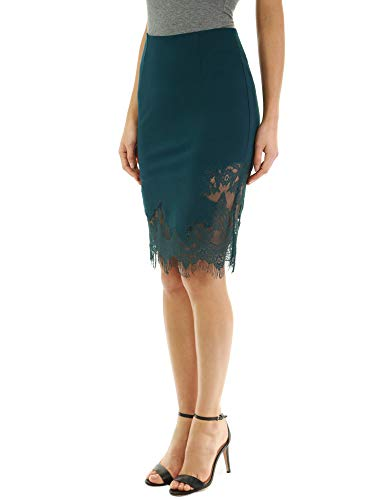 PattyBoutik Women Lace Fringe Inset Skirt (Dark Green Medium)