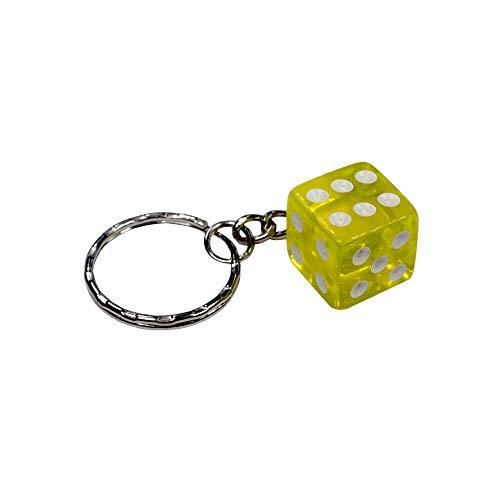 Würfel Schlüsselanhänger Transparent Glückswürfel Knobeln Glücksbringer Casino farbig Gelb
