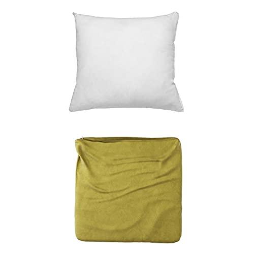 Cojines Sofa con Relleno Incluido Pack Cojin + Funda de 35x35 en Color Oliva / Cojines Decorativos para Sofa , Cama , Salon / Fundas de Terciopelo Elegantes para la decoración del hogar