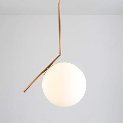 Skandinavisk kreativ ljuskrona Enkel modern konst Järn Mjölk Vit glasboll Vardagsrum Säng Matsal Hängande fönsterlampa