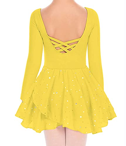 Long Sleeve Dance Leotards for Girls Fancy Gymnastics Clothes with Tutu 8-9 Years Teens Soft Comfy Yellow Ballet Unitard for Ballet Classes