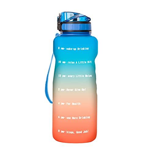 LGQ para Deportes Botella de Agua Motivacional con Marcador de Tiempo Paja a Prueba de Fugas Jarra de Agua sin BPA Tritan Asegúrese de Beber Suficiente Agua Todos los días,Naranja
