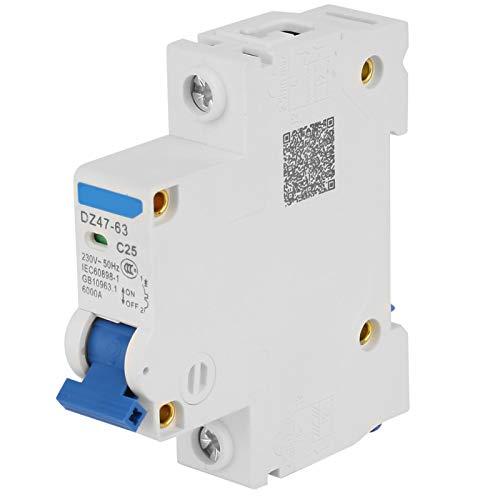 Durable 6KA Retardante de llama Resistente a la oxidación Alta confiabilidad Interruptor automático en miniatura de 1 polo 230V Eléctrico para sistemas de generación de energía(25A)