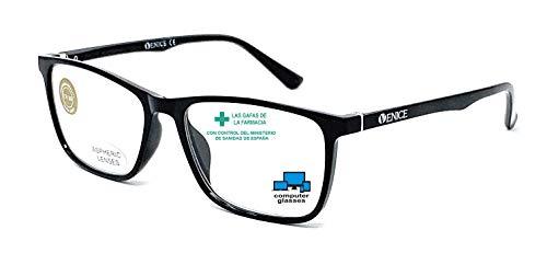 Blaulichtfilter lesebrille anti blaulicht. Computerbrille TR90 ULTRALEICHT Professional Für herren damen gamer brille venice (Schwarz, +0.00 ohne Vergrößerung)