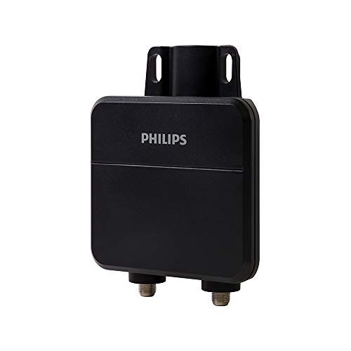 Philips Outdoor HD TV Antenna Amplifier, Improve Low-Strength Pixelated Channels, Digital VHF UHF Signal Booster, for Passive Antennas, Weather Resistant, Mounting Hardware Included, SDV9320N/27