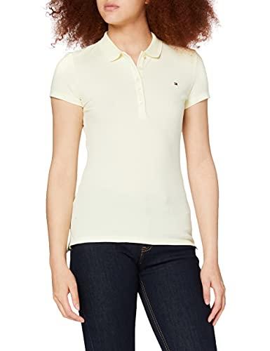 Tommy Hilfiger Short Sleeve Slim Polo Camiseta, Amarillo (Frosted Lemon), XS para Mujer