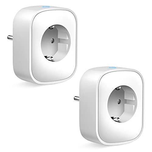 Enchufe Inteligente, 16A 3680W Enchufe WiFi Con Monitor de Energía, Compatible con Alexa Echo & Google Asistente, Enchufe con Control Remoto y Función de Temporizado, no se requiere Hub(2 Packs)