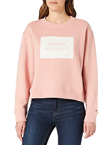 Tommy Hilfiger Relaxed T Box C-NK Sweatshirt LS Sudadera, Rosa, XL para Mujer