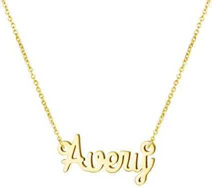 Name Necklace Big Initial Gold Plated Best Friend Jewelry Women Gift for Her Avery product image