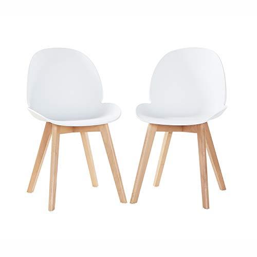EGGREE Set di 2 Sedie Sala da Pranzo Moderne Scandinavo Design Sedia Cucina in Plastica e Gambe di Faggio, Bianco