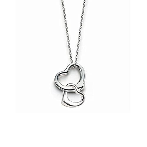 DOOLY Regalo del día de San Valentín 925 Plata esterlina corazón Conectado Pareja corazón Colgante Collar para Mujer Regalo de joyería de Plata