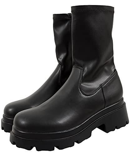 [神戸レタス] ストレッチミドルブーツ [I2355] L ブラック