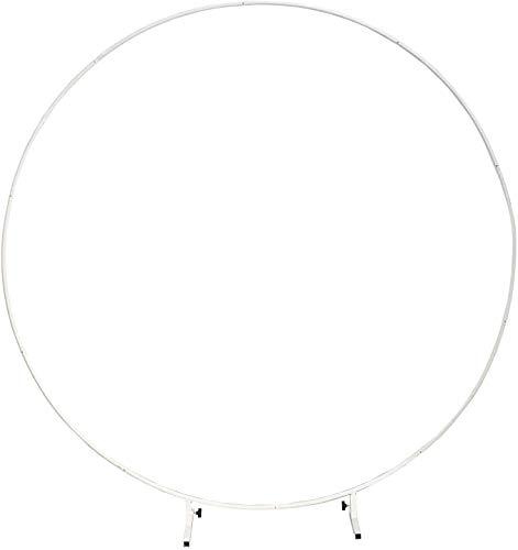 LANGXUN Φ7.2ft (2.2m) Kit de arco de globo redondo de metal blanco de gran tamaño para decoración, para decoración de bodas, decoración de fiestas de cumpleaños