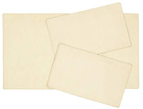 Juego de alfombras para dormitorio Italia de color liso beije crema + fondo para dormitorio de 3 piezas