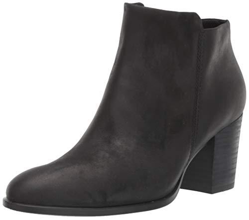 ECCO Women's Shape 55 Stacked Heel Ankle Boot, Black Nubuck, 40 M EU (9-9.5 US)