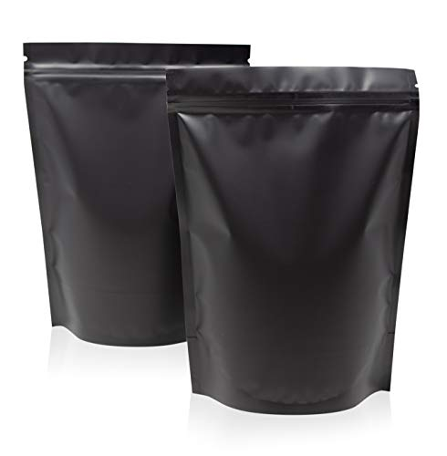 SPACE SEAL 100 Large Smell Proof Bags 6.3x8.6 Inches Matte Black Mylar Bags Resealable Bags Packaging Bags