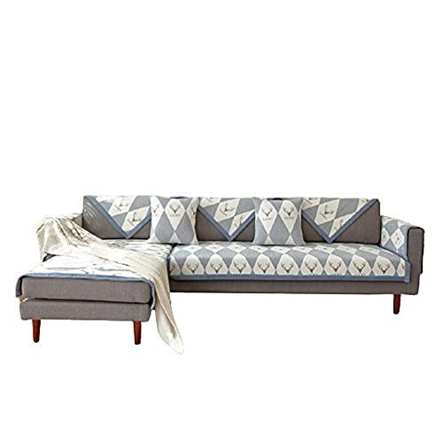 Fundas Protectoras de sofá en Forma de L con patrón de Diamante Minimalista,Fundas de sofá de fácil instalación para Perros,Gatos,Mascotas,loveseat,Fundas de sofá,Gris,110 * 110 cm