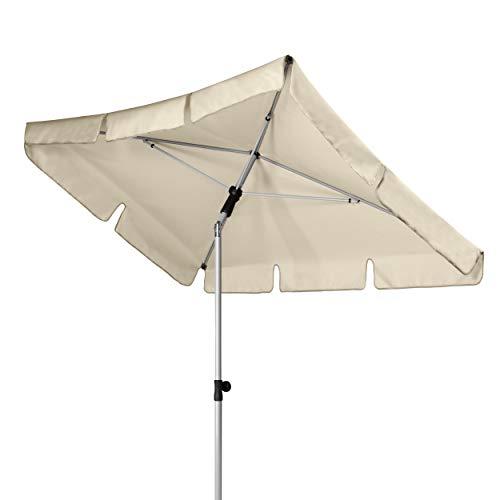 Doppler Active – Rechteckiger Sonnenschirm für Balkon und Terrasse – Knickbar – 180x120 cm – Natur