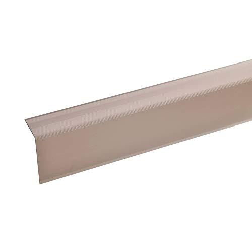 Aluminium Treppenwinkel-Profil - 170cm, 52x30mm, bronze-hell Rutschhemmend Robust Leichte Montage Treppenkanten-Profil, Treppenstufen-Profil aus Alu Selbstklebendes Stufenkanten-Profil, Treppenprofil