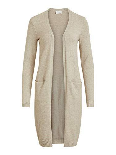 Vila Clothes Damen VIRIL Long L/S Knit Cardigan - NOOS Strickjacke, Beige (Natural Melange Natural Melange), S