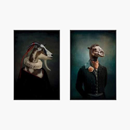 JINHJ Pinturas de Lienzo de Arte clásico Impresión de póster de Arte de ParedSr.Cabra en un Traje Cuadro de Lienzo Decoración de la Pared del hogar (40x60cm) × 2pcs Sin Marco