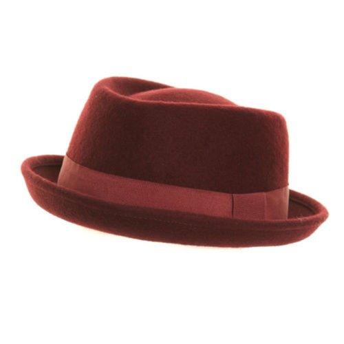 Hawkins - Chapeau Femme Homme Feutrine Trilby PorkPie 100% Laine Tout Neuf - Marron, Laine, 57cm