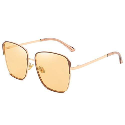 HDSJJD Gafas De Sol Polarizadas De La Moda De Las Señoras Classic Classic Square UV400 Gafas De Sol De Marco De Metal con Protección UV,B