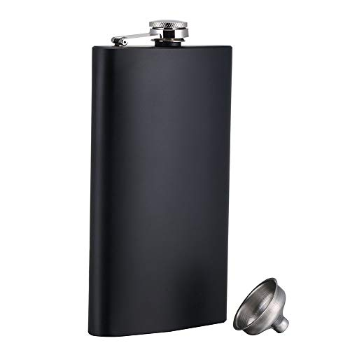 ToBeIT Flachmann Edelstahl 12oz in Schwarz matt mit praktischen Trichter - Taschenflasche Schnapsflasche Trinkflasche (12oz)