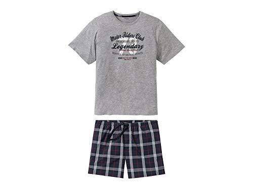 Livergy Herren Sommer Pyjama Kurze Schlafhose + Kurzarm Shirt ++Plussize++ Grau 4XL