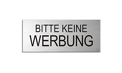 Briefkastenschild - Bitte Keine Werbung | 60x25 mm Aluminium Edelstahlschilder-Optik | vollflächig selbstklebend Nr.29013-S